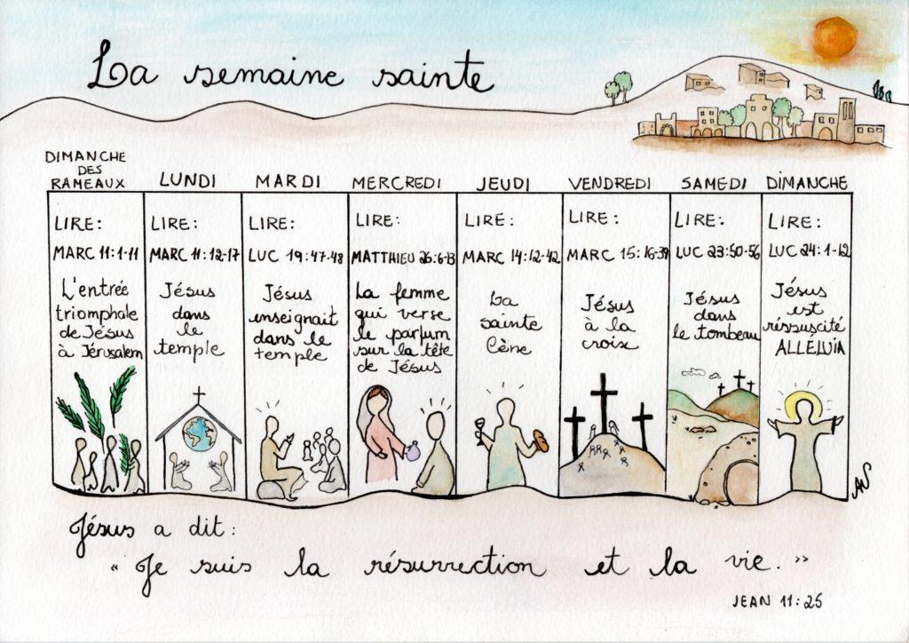 Calendrier pour la semaine sainte